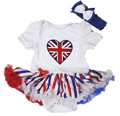 Petitebella Union Jack Heart White Bodysuit RWB Striped Baby Dress Nb-18m (3-6month)