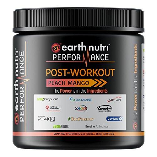 EarthNutri Performance Post-Workout - Powered with BCAAs, L-Alanyl-L-Glutamine, Creatine, Beta Alanine, L-Citrulline, Betaine Anhydrous, Organic PeakO2, Organic Ashwagandha (Peach Mango)