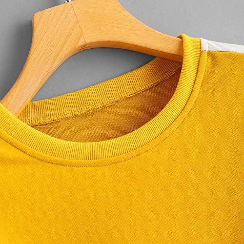 Blouse Womens Morwind Stripe Patchwork Sweatshirt Long Yellow Round Tops Neck Sleeve Sqrd8wq