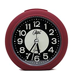 OSMOFUZE Mini Fluorescent Bedroom Alarm Clock, Silent Non Ticking Analog Small Lightweight Quartz Alarm Clock with Light, Battery Operated by (Wine Red, Round)
