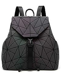 Geometric Lingge Women Backpack Luminous Flash Mens Travel Shoulder Bag Rucksack