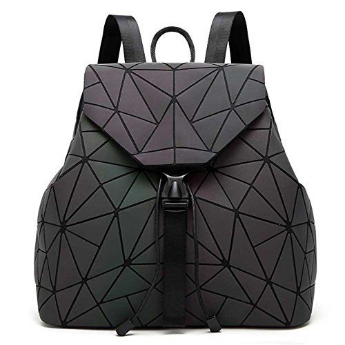DIOMO Geometric Lingge Women Backpack Luminous Mens Travel Shoulder Bag Rucksack (Luminous NO.3)