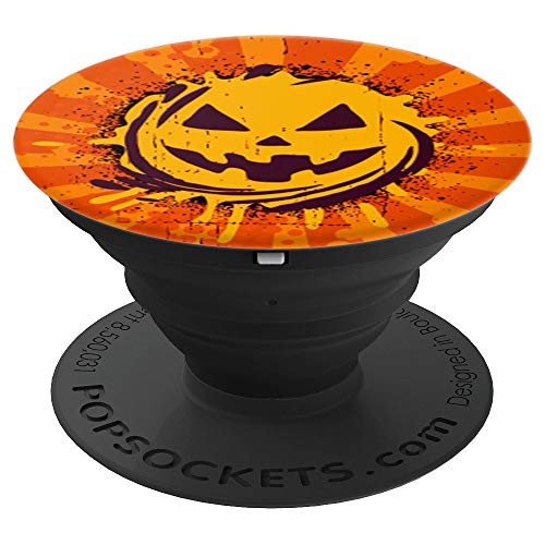 - Scary Orange Jack O Lantern Pumpkin Sunburst Halloween Gift - PopSockets Grip and Stand for Phones and Tablets