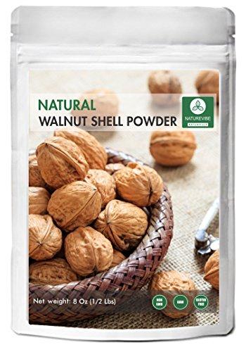 (Naturevibe Botanicals 100% Pure & Natural Walnut Shell Powder For Scrub Formulation - 1/2 lb (8 Ounces)   Raw, Gluten-Free & Non-GMO   Omega-3 Fatty Acids   Glowing Skin   Healthier Scalp.)