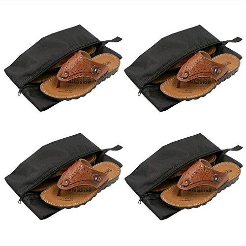Skitic 4 Stück Tragbar Wasserdichte Nylon Reise Schuhetasche Schuhbeutel Leichte Schuhtaschen Trockenen Tuch Schuhe Staff Zubehör Veranstalter Beutel Taschen mit Reißverschluss - Schwarz