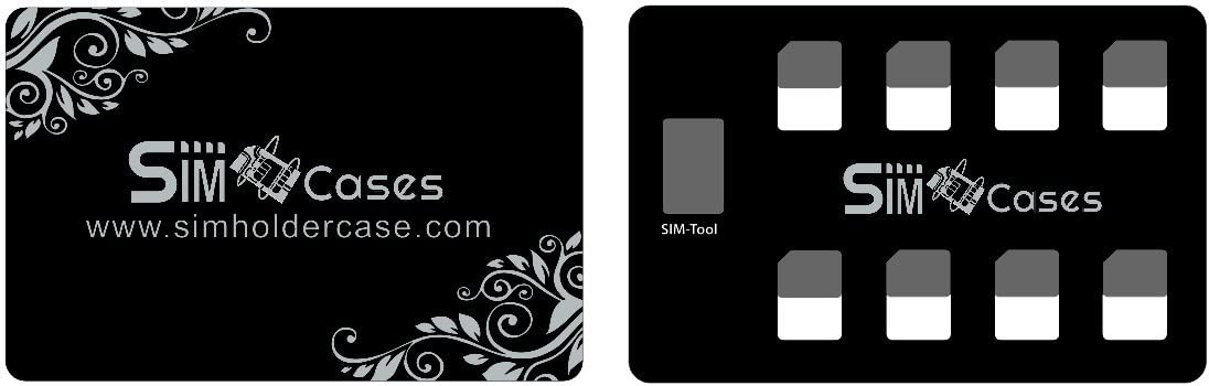 SIM Card Adapter Set & Nano SIM Card Holder Case with iPhone Pin Needle, Slim Credit Card Size for Wallet, Storage case for 8 Nano SIM Cards, Quality sim Converter Set for Nano sim Card - Black
