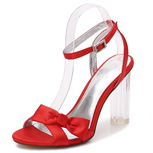 Red Platform Party YC Shoes 1 Bride F2615 Toe With Women Wedding L Sandals Crystal Peep Thick Prom wpfa8w