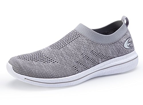 Casual Street Fashion Shoes (Women's Slip On Sneaker Mesh Loafer Casual Beach Street Sports Walking Shoes (7, Grey/White))