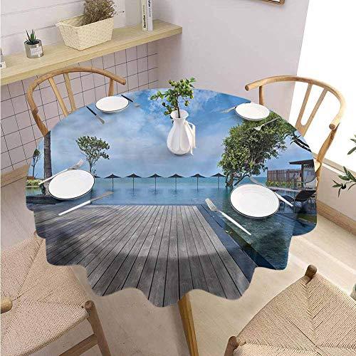 BNAREO Printed Round Tablecloth Beach Theme HuaHin Thailand Holiday Wedding Patio Dining Dorm D43 (Patio Beach Thailand)