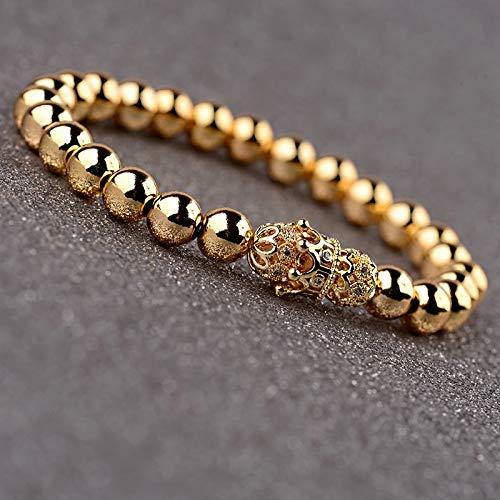 ALISETHEL Copper Bracelet for Men Oiquei 2pcs/Set Couple Bracelets for Women Men 2019 Gold 8mm Copper Bead&cz Crown Beaded Charm Bnagles Bracelet Luxury Jewelry by ALISETHEL (Image #2)