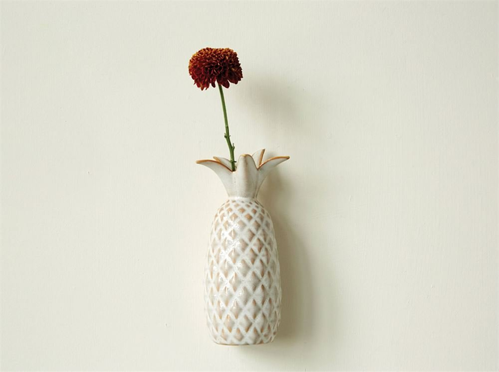 Pineapple Cream And Ivory Diamond Pattern 3.5 x 8.5 Stoneware Hanging Wall Vase by Creative Co-op