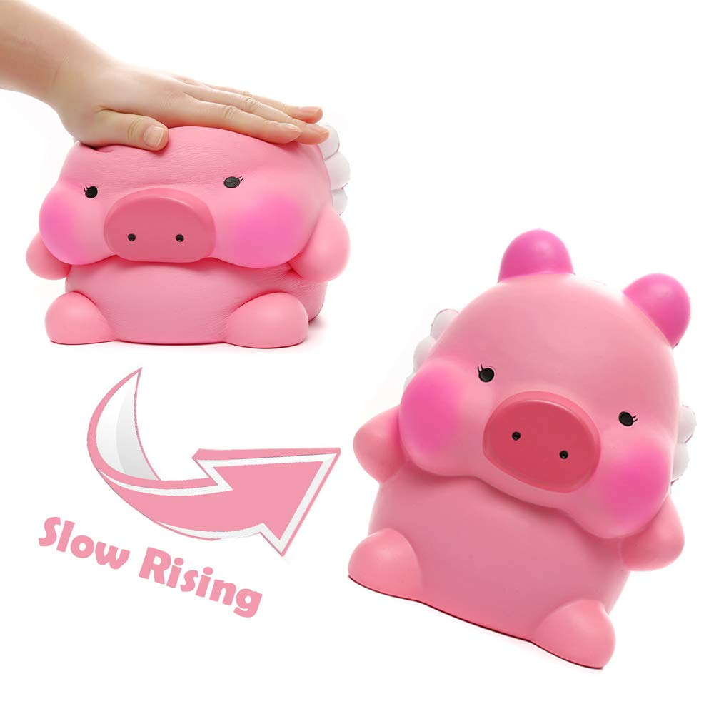 Sinofun 9 Inch Cute Pink Piggy Squishy, with White Wing, Giant Animal Squishies Package, Slow Rising Stress Reliever Squeeze Toys, Birthday Gifts for Girls/Kids by Sinofun (Image #5)