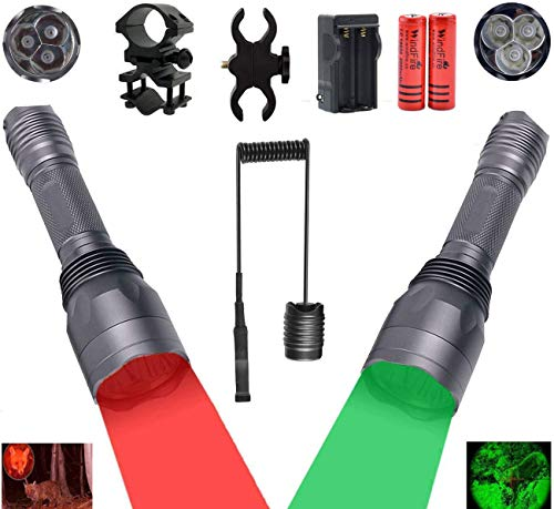 WINDFIRE S10 Brightest 3pcs Green and Red LED Hunting Flashlights 300 Yards Long Range Hog Coyote Varmint Hunting Light Full Kit with Scope Mount, Barrel Mount,Pressure Switch,Rechargeable Batteries