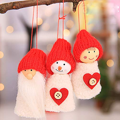 Tuscom Three-Piece Set Christmas Doll Small Hanging| Creative Baubles Xmas Tree Ornaments Party Home Decoration (4 Style 9X4cm) (A)