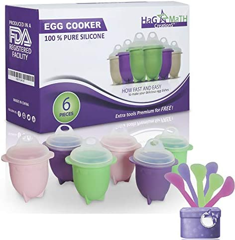 Hag & MaTH Egg Cooker for Boiling & Microwave, Hard Boiled Egg Maker Without the Shell, Set of 6 Non-Stick Silicone Egg Poacher Cups and Lids + Bonus ...