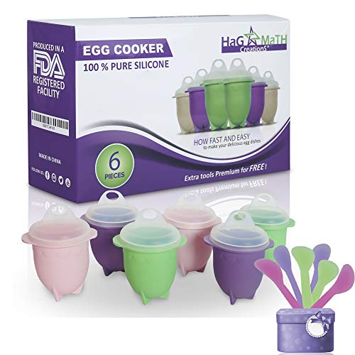 - Hag & MaTH Egg Cooker for Boiling & Microwave, Hard Boiled Egg Maker Without the Shell, Set of 6 Non-Stick Silicone Egg Poacher Cups and Lids + Bonus Items