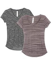 icyzone Dames T-shirt korte mouwen V-hals yoga tops casual sport shirt 2-pack
