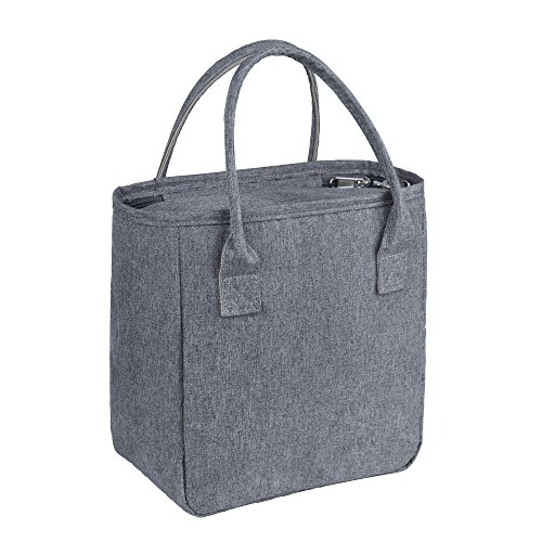 Lunch Tote Bags for Women,Reusable Insulated Lunch Cooler Bag Handbags for Women Adults Use for Work,School,Picnic,On The Go (Gray)