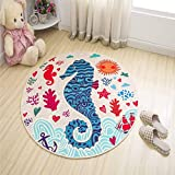 Circular Water Uptake Carpet Non-Slip Latex Rubber Backing Area Rug Home Hotel Cartoon Door Mat