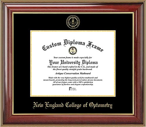 - Laminated Visuals New England College of Optometry - Embossed Seal - Mahogany Gold Trim - Diploma Frame