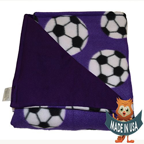 Young Adult Medium Weighted Blanket By Sensory Goods 13lb Heavy Pressure - Soccer Pattern with Purple - Fleece/Flannel (41'' x 58'') by SENSORY GOODS