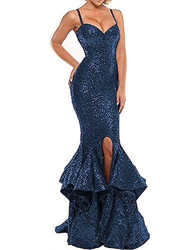 2018 Party Dresses Plus Size Sexy Evening Gowns Sequined Spaghetti