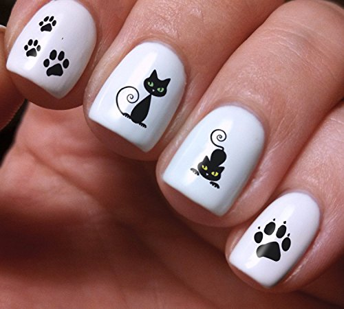 Nail Art Decals Set 3D DIY Black Cat Animals - Original Beauty Fashion Style High Quality Design Decoration Water Transfer- The best products for kids, teens, girls and women