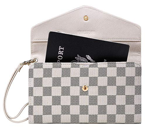 Krosslon Rfid Travel Passport Wallet for Women Slim Holder Wristlet Document Organizer (14# White Checker) ()