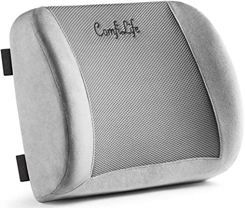ComfiLife Lumbar Support Back Pillow Office Chair and Car Seat Cushion - Memory Foam with Adjustable Strap and Breathable 3D Mesh (Grey)