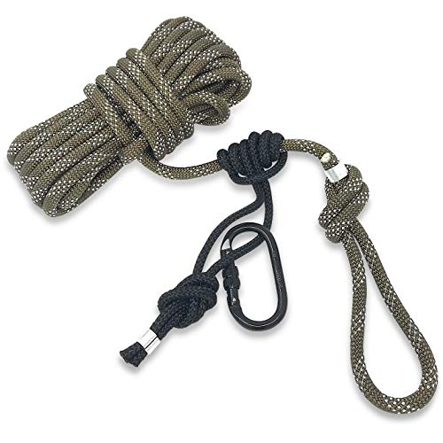 Proven Wild Treestand Lifeline Rope for Hunting - 30 ft Harness Lifeline Non-Reflective with Prusik Knot and Single Carabiner