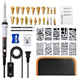 Wood Burning Kit, GOCHANGE 39Pcs Pyrography Set with Adjustable Temperature Soldering Woodburning Pen with Power Switch, 22 Wood Burning Tips + 10 Stencil + 2 Pencils+ Stand + 1 Carrying Case