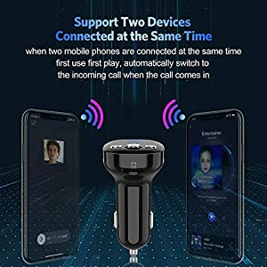 51qNfXaIpZL. SS300  - Bluetooth-FM-transmitter-Clydek-Bluetooth-receiver-hands-free-calling-radio-adapter-car-charger-with-Bluetooth-42-2-USB-ports-power-off-and-music-player