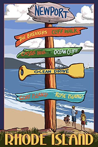 Newport, Rhode Island - Sign Destinations (9x12 Collectible Art Print, Wall Decor Travel Poster)
