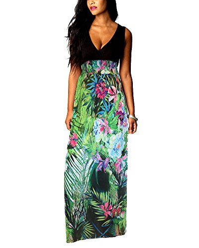 Sexy-Women-V-neck-Summer-Casual-Long-Maxi-Evening-Party-Dress-Plus-Size-4-20-New