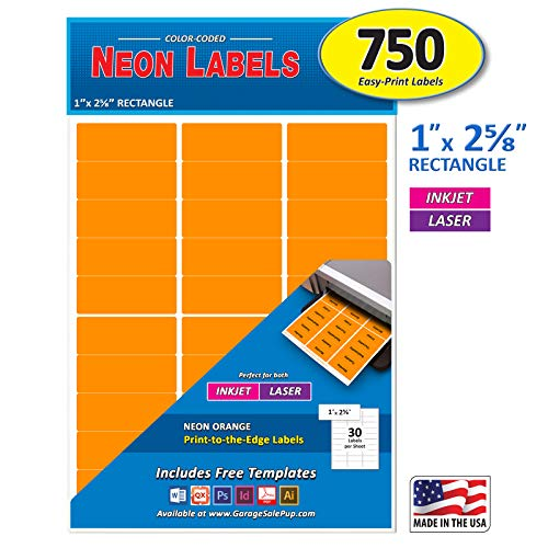Pack of 750, 1 x 2-5/8 inch, Neon Orange, Mailing Address Labels for Laser and Inkjet Printers, Rectangle, Assorted Neon Fluorescent Colors, 1 x 2.625 in.