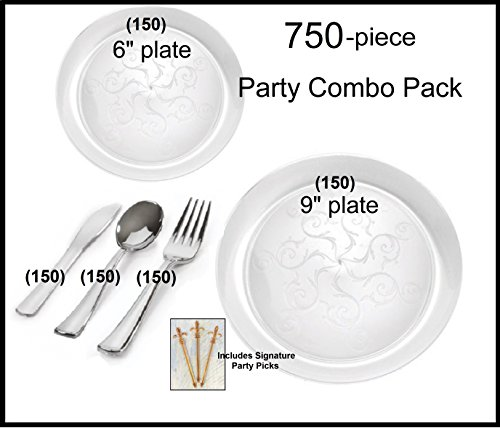 Party Combo Pack - 750-piece Premium Plastic CLEAR Plates and Silver Cutlery w/ Signature Party Picks SERVES 150 ()