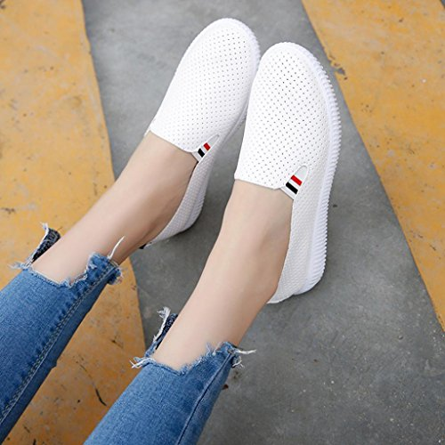 Amiley Hot Sale Ladies Women Hollow Out Breathable Shoes Round Toe Platform Flat Heel Slip On Casual Shoes White onE9BElO