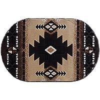 South West Native American Oval Area Rug Design C318 Berber (3 Feet x 4 Feet 8 Inch)