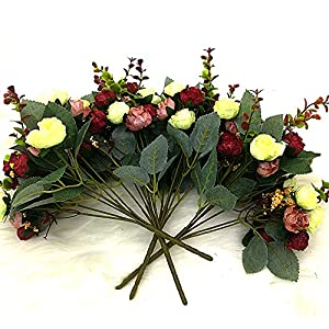Grunyia Artificial Fake Flowers Silk Tiny Rose Flowers Wedding Bridal Bouquet Home Decoration,Pack of 4 4