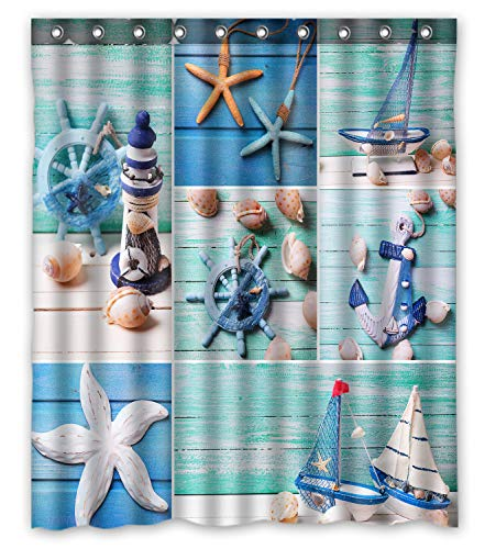 KXMDXA Seashells on Wooden Planks Lighthouse Sailing Boats and Marine Items on Wooden Waterproof Fabric Polyester Shower Curtain 60 x 72 Inch