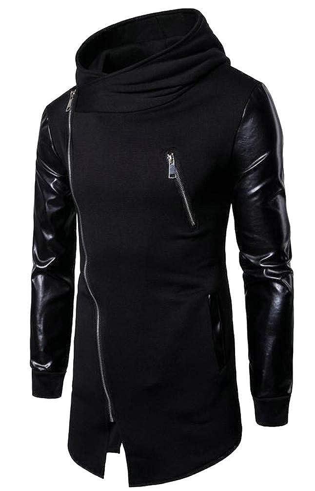 Blyent Mens Casual Stitch PU Irregular Oblique Zipper Hooded Sweatshirts