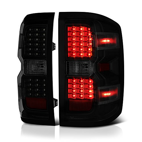 VIPMOTOZ LED Tail Light Lamp Assembly For 2014-2018 Chevy Silverado 1500 2500HD 3500HD (Factory Incandescent Model) - Black Housing, Smoke Lens, Driver & Passenger ()