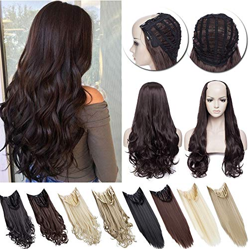 U Shaped Part Half Wig Clip In Hair Extension Full Head One Piece None Lace Front Invisible U Part Half Head Wig 7 clips With Wig Net Synthetic Straight Curly(26