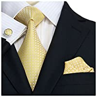 Landisun SILK Various Plaids & Checks Mens SILK Tie Set: Necktie+Hanky+Cufflinks