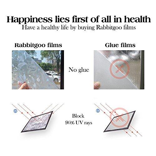 RABBITGOO 3D Window Films Privacy Film Static Decorative Film Non-Adhesive Heat Control Anti UV 17.5'' x 78.7'' (44.5 x 200Cm) by RABBITGOO (Image #6)