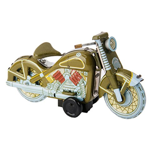 Wind Up Green Motor Bike Model Clockwork Kids Play Metal Toys Collectible