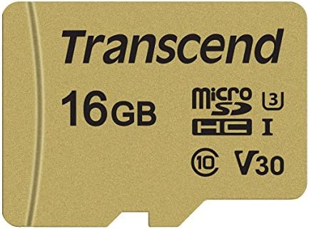 Transcend USD500S - Tarjeta microSD de 16 GB, microSDHC Clase 10 UHS-I U3, V30, con chip MLC, Lectura hasta 95 MB/s