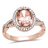 Halo Infinity Shank Ring Oval Simulated Morganite Round CZ Rose Tone Plated 925 Sterling Silver, Size-9