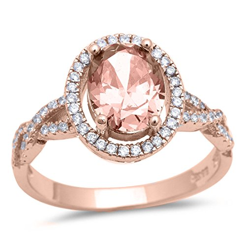 Ring Oval Simulated Morganite Round CZ Rose Tone Plated 925 Sterling Silver, Size-8 (Morganite Rose Ring)