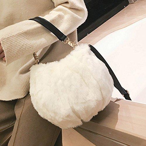 Crosssbody Small Fur Women Bag White Shoulder Marchome Round Handbag Faux aBYRn